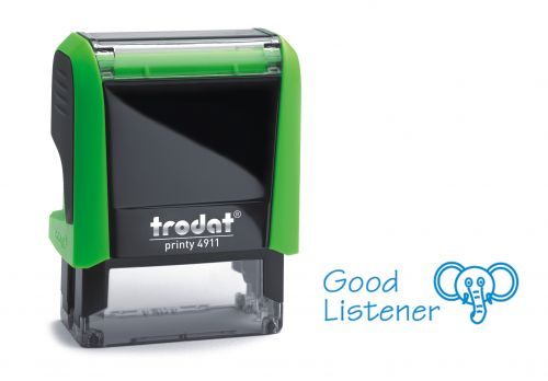 Trodat Classmate Printy 4911 Self-inking Stamp - Elephant. This stamp features the phrase 'Good Listener', perfect for use in the classroom.