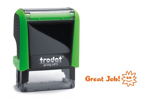 Trodat Classmate Printy 4911 Self-inking Stamp. This stamp features the phrase 'Great Job!', perfect for use in the classroom.