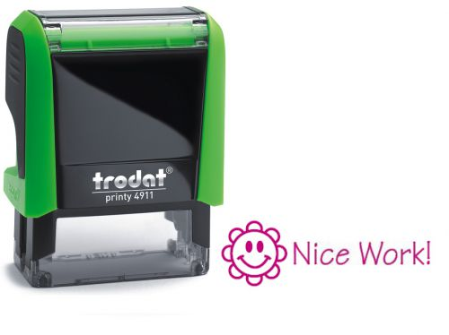 Trodat Classmate Printy 4911 Self-inking Stamp. This stamp features the phrase 'Nice Work!', perfect for use in the classroom.
