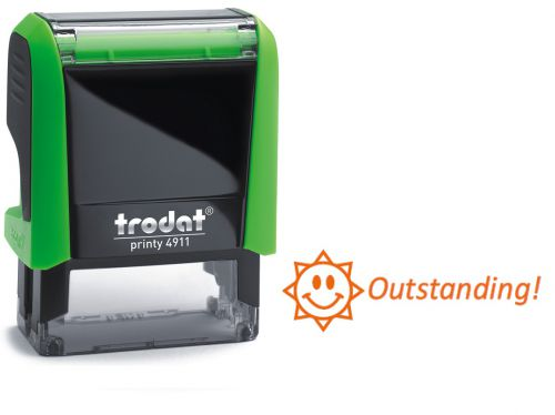 Trodat Classmate Printy 4911 Self-inking Stamp. This stamp features the phrase 'Outstanding!', perfect for use in the classroom.