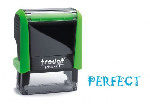 Trodat Classmate Printy 4911 Self-inking Stamp. This stamp features the phrase 'Perfect', perfect for use in the classroom.
