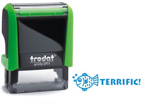 Trodat Classmate Printy 4911 Self-inking Stamp. This stamp features the phrase 'Terrific!', perfect for use in the classroom.