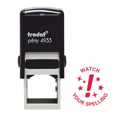 Trodat Classmates Education Stamp - Perfect for in the classroom, this self-inking stamp features the phrase 'WATCH YOUR SPELLING'.