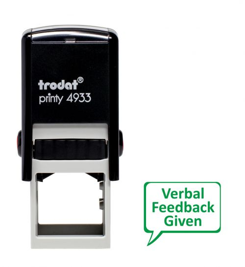 Trodat Teachers Stamp - Verbal feedback given speech bubble - Green