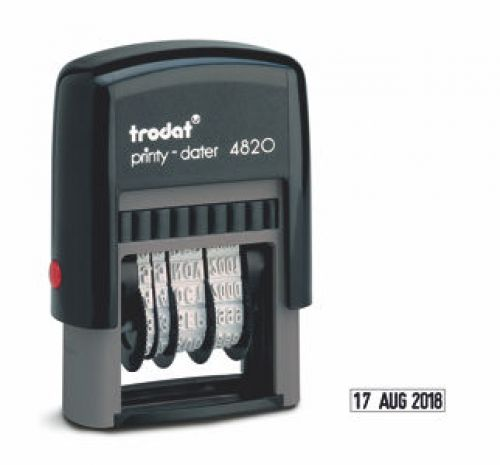Trodat Printy 4820 Refillable Line Dater Stamp 4mm Black