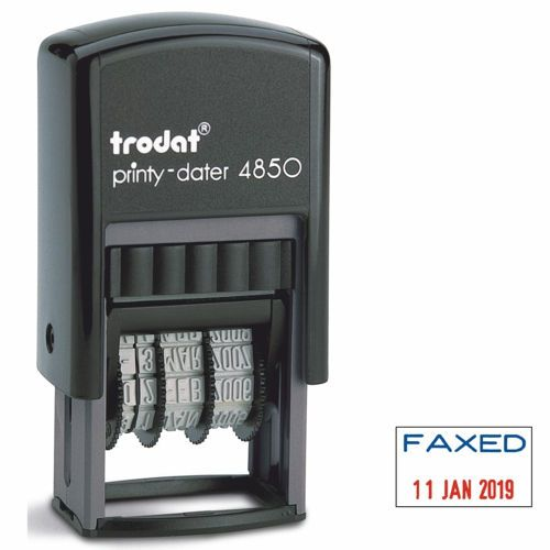 Trodat Printy 4850/L9 Self Inking Faxed Date Stamp Red/Blue