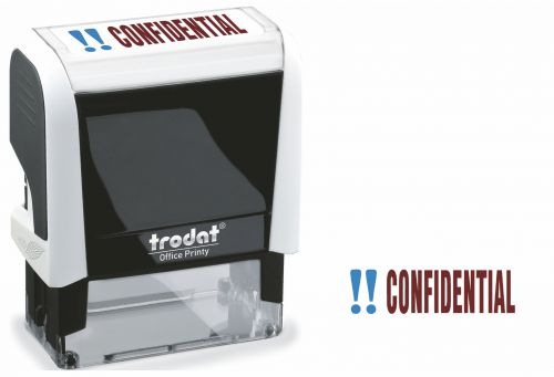 Trodat Office Printy Word Stamp CONFIDENTIAL Red/Blue Code