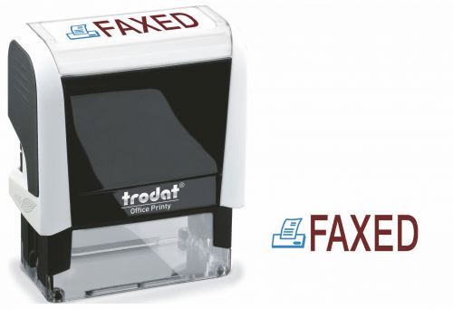 Trodat Office Printy Word Stamp FAXED Red/Blue Code