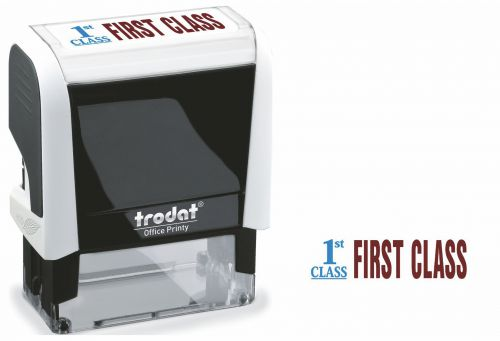 Trodat Office Printy Word Stamp FIRST CLASS Red/Blue Code