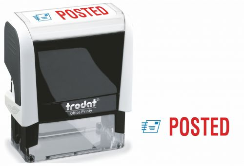 Trodat Office Printy Word Stamp POSTED Red/Blue Code