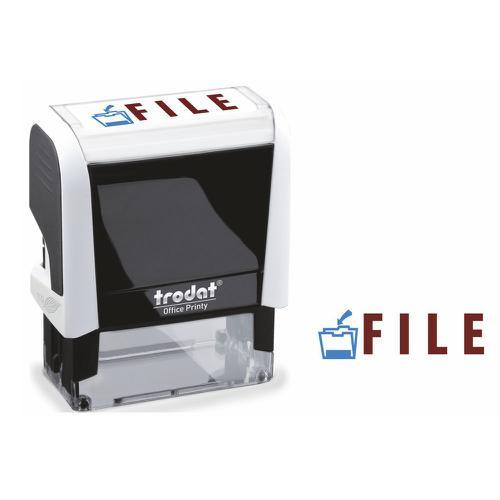 Trodat Office Printy Word Stamp FILE Red/Blue Code