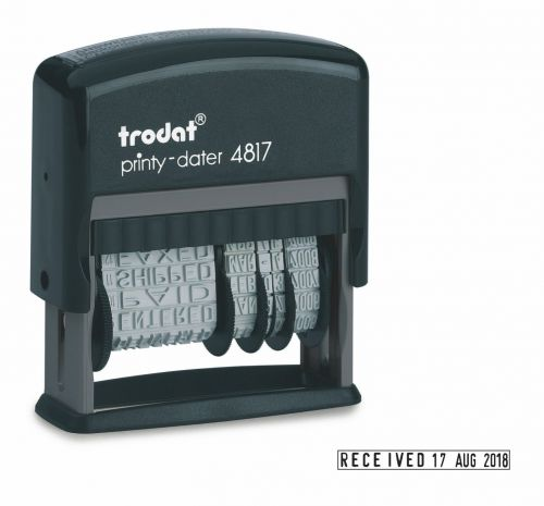 Trodat Printy 4817 Self Inking Dial-A-Phrase Date Stamp Black