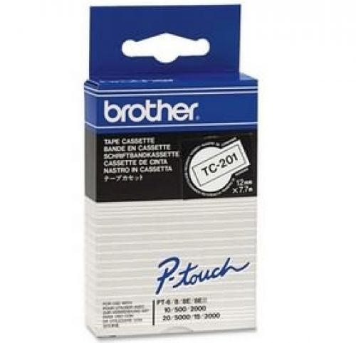 Brother P-touch TC-201 (12mm x 7.5m) White On Black Gloss Laminated Labelling Tape