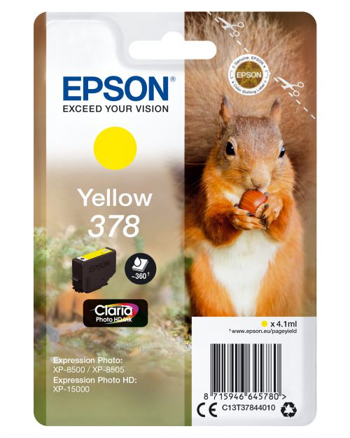 Epson Squirrel 378 (4.1ml) Claria Photo HD Yellow Ink Cartridge