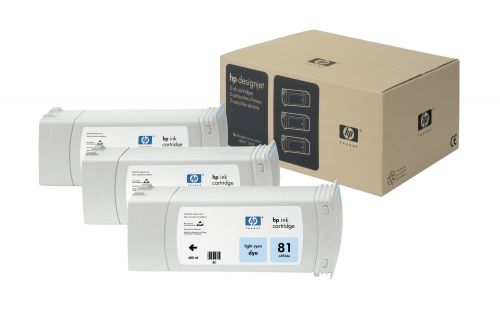 HP 81 Light Cyan Ink Cartridge 3Pk
