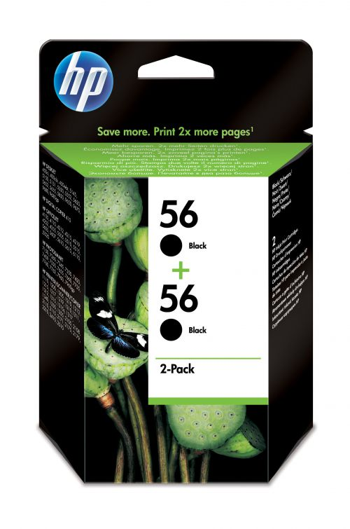 HP 56 (Yield: 520 Pages) Black Ink Cartridge Pack of 2