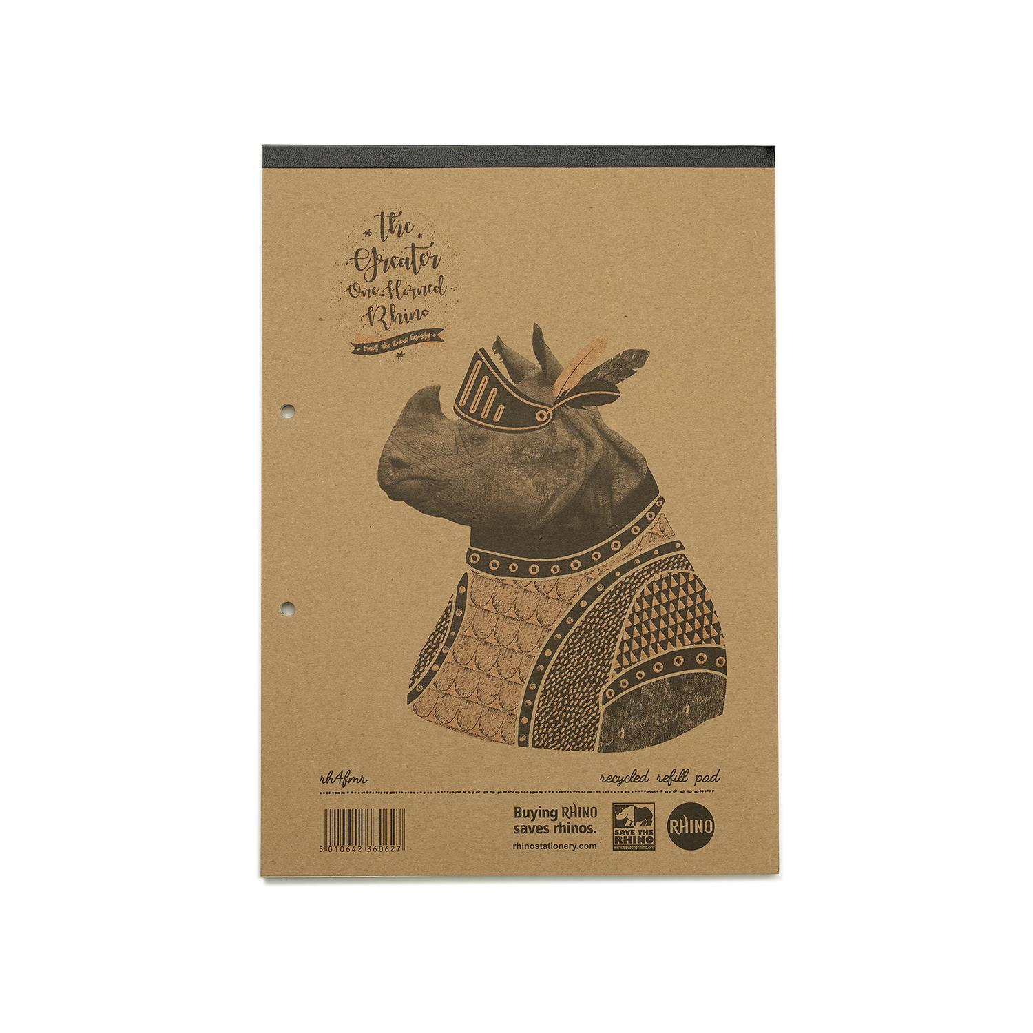 Refill Pads Save The Rhino Recycled Headbound Refill Pad A4 (Pack 5) RH4FMR