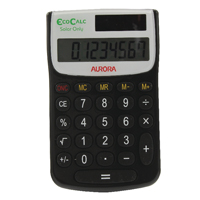Aurora Black/White 8-digit Handheld Calculator EC101