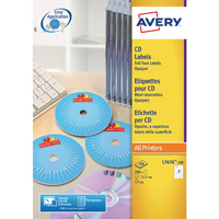 Avery White Full Face CD/DVD Laser Label 2 Per Sheet (Pack of 25) L7676-25