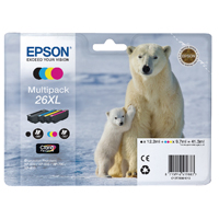 Epson 26XL Black/Cyan/Magenta/Yellow High Yield Inkjet Cartridge Value Pack C13T26364010 / T2636