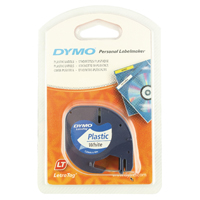 Dymo Pearl White LetraTag Plastic Tape 12mmx4m SO721610