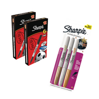 Sharpie Black Permanent Marker Fine (Pack of 24 with free pack of Metallic Markers) GL839622