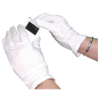 White Knitted Cotton Lge Gloves Pk20