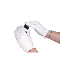 White Knitted Med Cotton Gloves Pk20