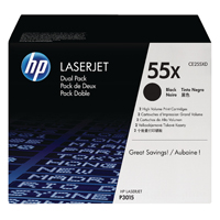 HP 55X Black High Yield Laserjet Toner Cartridge (Pack of 2) CE255XD