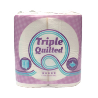 2Work Luxury White 3-Ply Quilted Toilet Roll 10 (Packs of 4) TQ4Pk