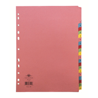 Concord Pastel A4 20-Part A-Z Reinforced Subject Divider 77299/72