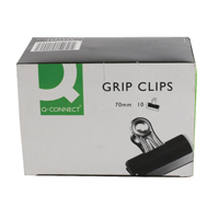 Q-Connect 70mm Black Grip Clip Pack of 10 KF01290
