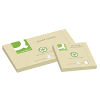 Q-Connect Repositionable Recycled 76 x 76mm Yellow Quick Notes Pack of 12 KF05609