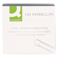 Q-Connect 77mm Wavy Paperclips (Pack of 100) KF27004