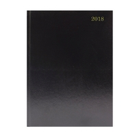 A4 2 Pages Per Day 2018 Black Desk Diary KF2A4BK18