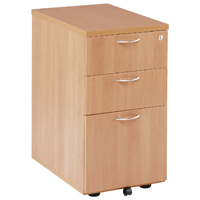 FF Jemini Beech 3 Drw Desk High Ped 600