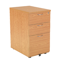 FF Jemini Oak 3 Drw Desk High Ped 800