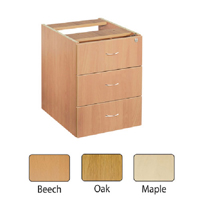 FF Jemini Oak 3 Drawer Fixed Ped