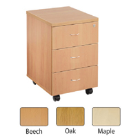 FF Jemini Maple 3 Drawer Mobile Ped