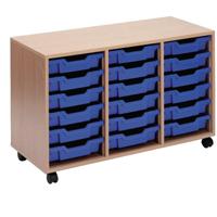 Jemini Mobile Storage Unit 18 Tray Beech KF72340