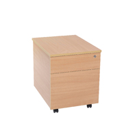 FF Serrion 2 Drawer Mobile Pedestal Beech