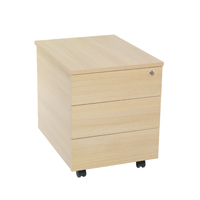 FF Jemini 3 Drawer Mobile Pedestal Oak