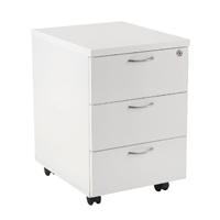 Jemini White 3 Drawer Mobile Pedestal