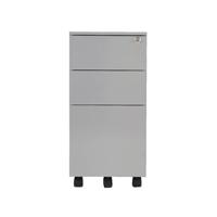 Jemini Silver Mobile Steel 3 Drawer Pedestal Slimline