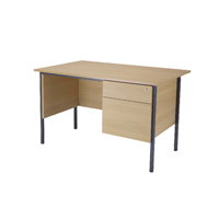 FF Jemini Oak 1200mm 4 Leg Desk 2D Ped