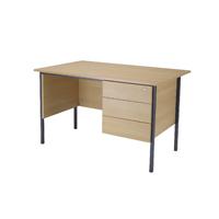 FF Jemini Oak 1200mm 4 Leg Desk 3D Ped
