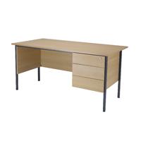 FF Jemini Oak 1500mm 4 Leg Desk 3D Ped