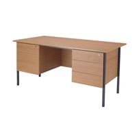 FF Jemini Bch1500mm 4 Leg Dbl Ped Desk