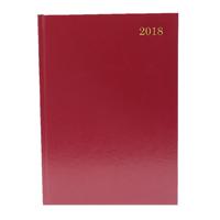 A4 2 Days Per Page 2018 Burgundy Desk Diary KFA42BG18