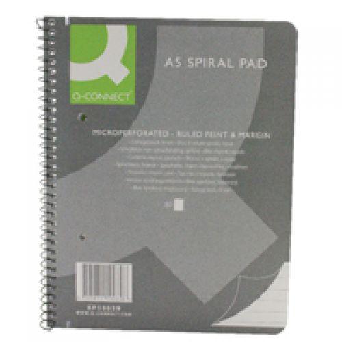 Q-Connect Spiral Pad Executive A5+ 80 Leaf Ruled Feint and Margin